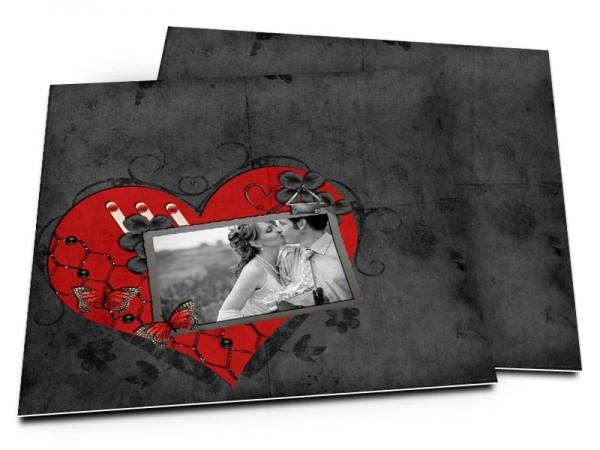 Remerciements mariage - Coeur rouge sur fond noir