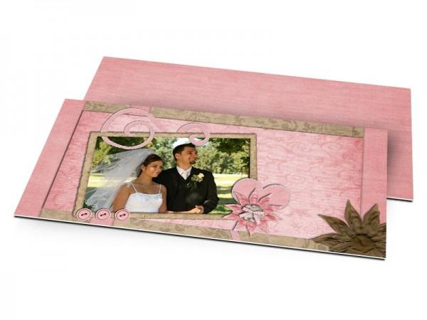 Remerciements mariage - Coeur rose et fleur chocolat