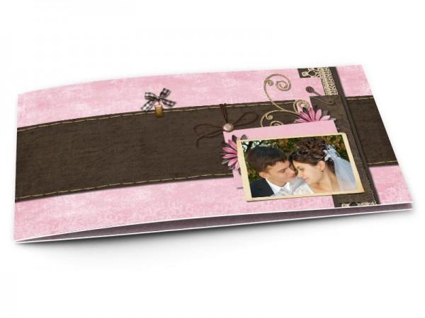 Remerciements mariage - Fine dentelle et fleurs roses