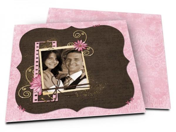 Remerciements mariage - Fleur rose, or et chocolat