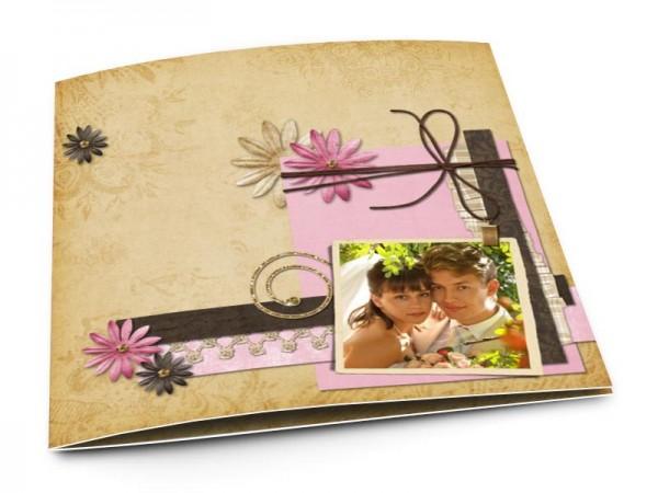 Remerciements mariage - Fleurs roses et ivoires