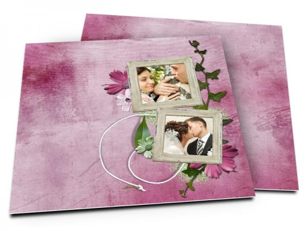 Remerciements mariage - Lierre et fleurs violettes