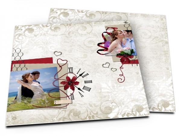 Remerciements mariage - L'horloge et les coeurs en argent
