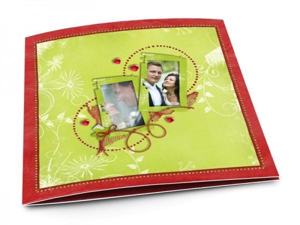 Remerciements mariage - Cercles rouges sur fond vert