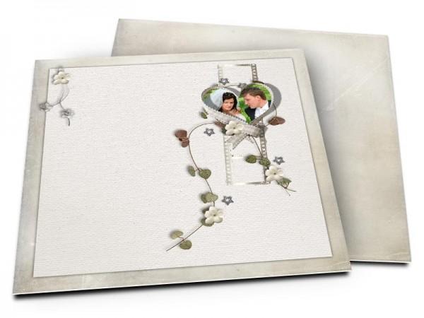 Remerciements mariage - Coeur blanc, fleurs blanches