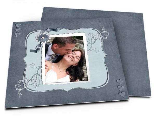 Remerciements mariage - Ruban bleu