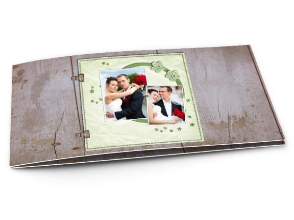 Remerciements mariage - Étoiles vertes et fond bois