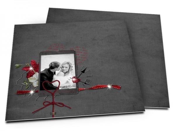 Remerciements mariage - Un coeur de ficelle rouge