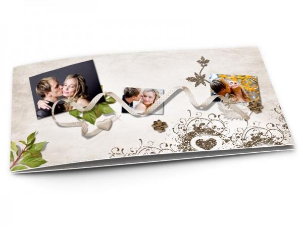 Remerciements mariage - Coeur gris sur ruban fin