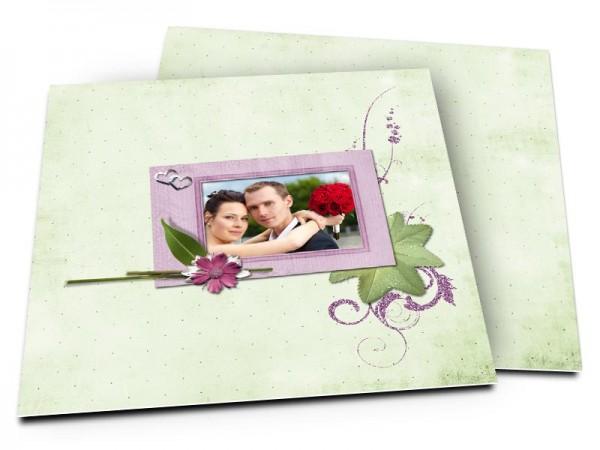 Remerciements mariage - Cadre violet sur fond vert