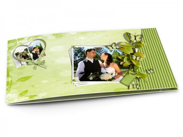 Remerciements mariage - Coeur vert et cadre blanc