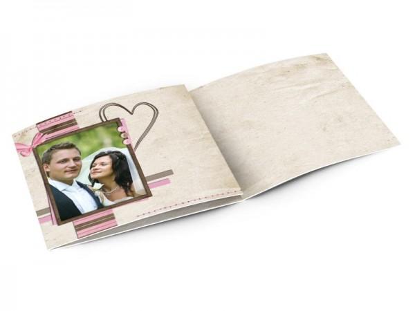 Remerciements mariage - Coeur fin sur cadre bicolore