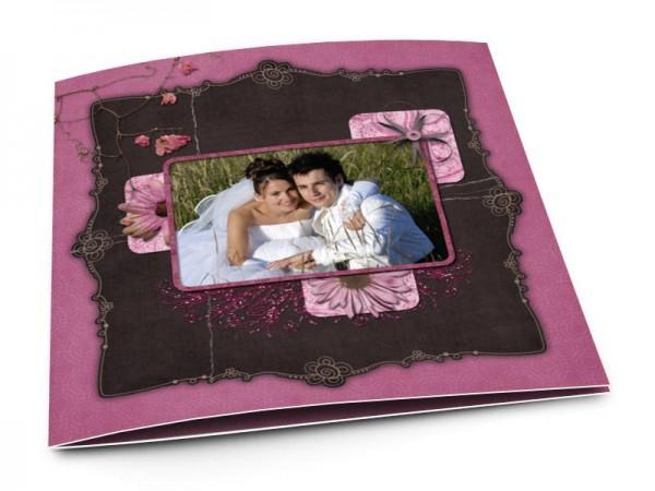 Remerciements mariage - Marguerites sur fond violet