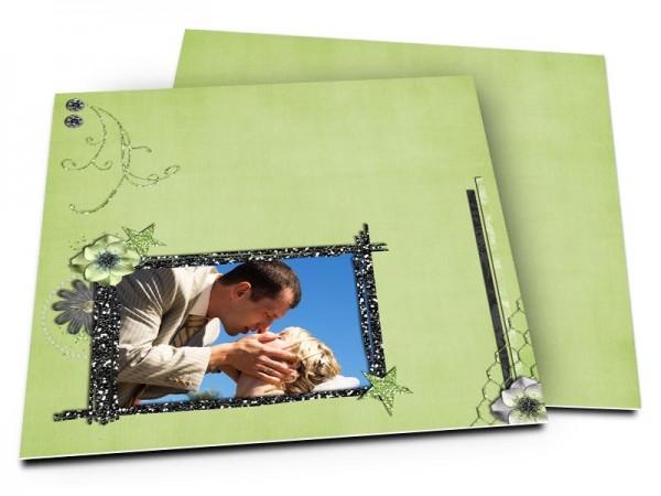 Remerciements mariage - Strass sur fond vert