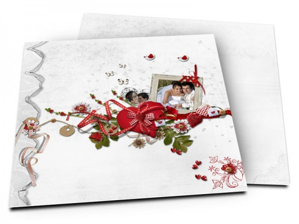 Remerciements mariage - Oiseau, rubans et coeurs en folie