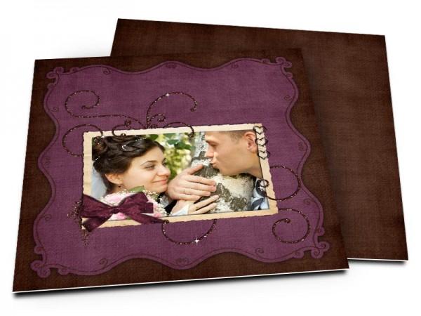Remerciements mariage - Coeurs et ruban violet