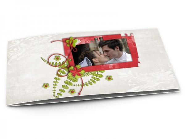 Remerciements mariage - Puzzle rouge et vert
