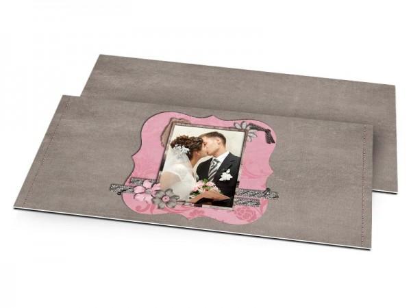 Remerciements mariage - Rose et gris