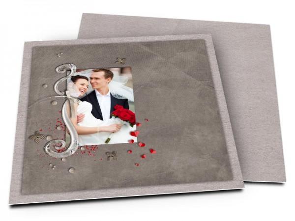 Remerciements mariage - Coeurs rouges et ornements
