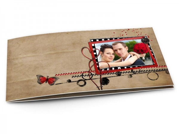 Remerciements mariage - Papillons rouges et coeurs enlacés