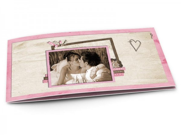 Remerciements mariage - Coeur rose et ivoire