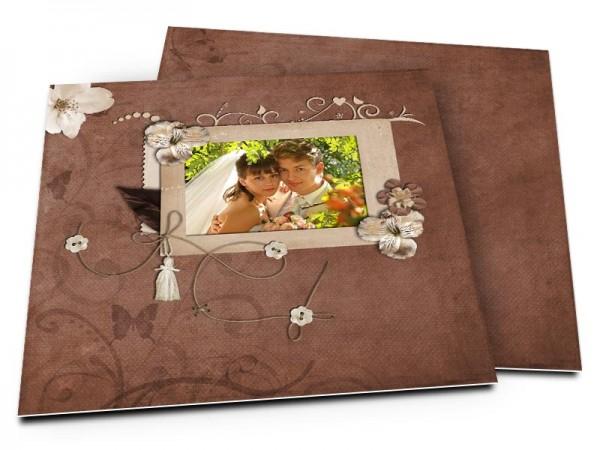 Remerciements mariage - Marron liane et fleur d'aubépine
