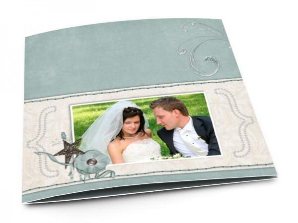 Remerciements mariage - Frise beige cousue sur fond turquoise
