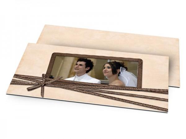 Remerciements mariage - Beige enrubanné