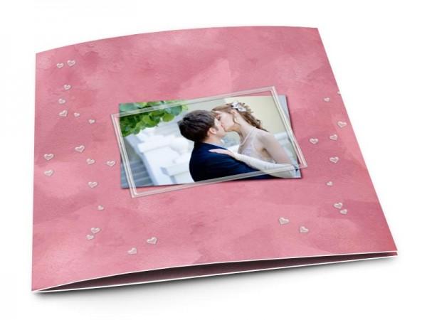 Remerciements mariage - Pluie de coeurs sur fond rose