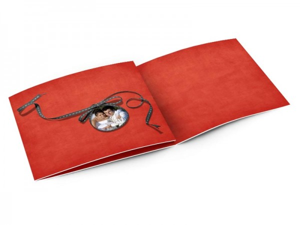 Remerciements mariage - Noeud gris sur fond rouge