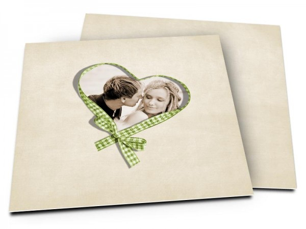 Remerciements mariage - Coeur vichy vert