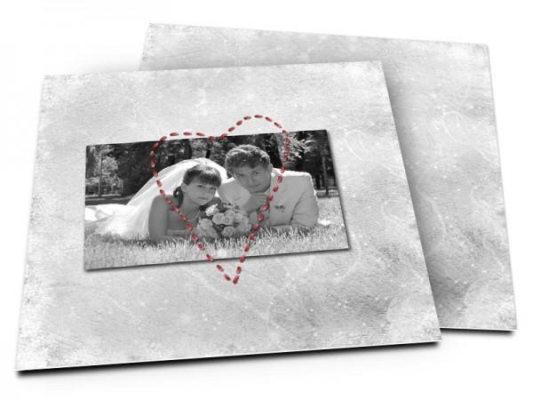 Remerciements mariage - Coeur rouge en pointillés