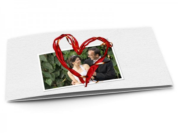 Remerciements mariage - Coeur rouge et ruban cuivré