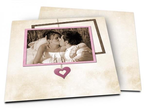 Remerciements mariage - Coeur en pendentif rose