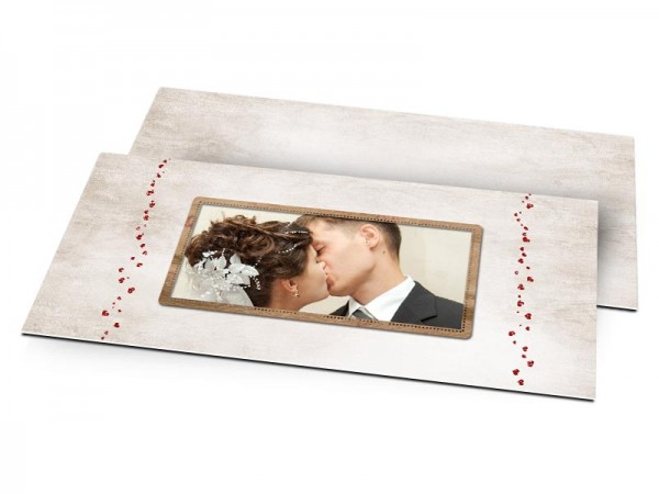 Remerciements mariage - Farandole de coeurs rouges