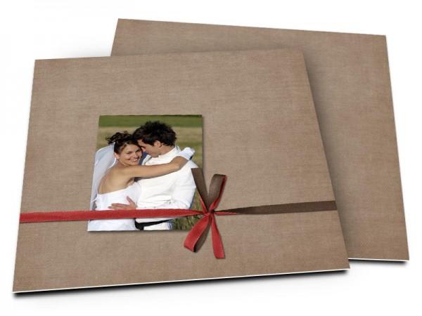 Remerciements mariage - Ruban rouge au revers marron