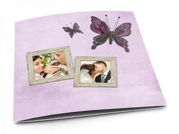 Remerciements mariage - Deux papillons violets