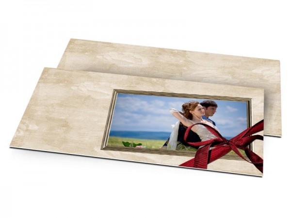 Remerciements mariage - Ruban rouge et roses en filigrane