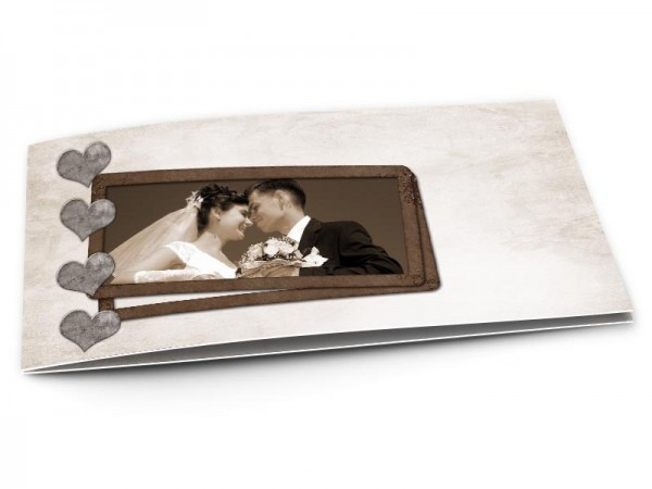 Remerciements mariage - Quatre coeurs gris