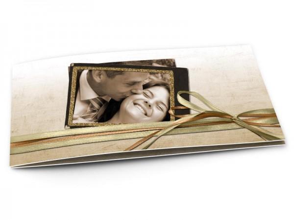 Remerciements mariage - Double ruban posé sur fond ivoire