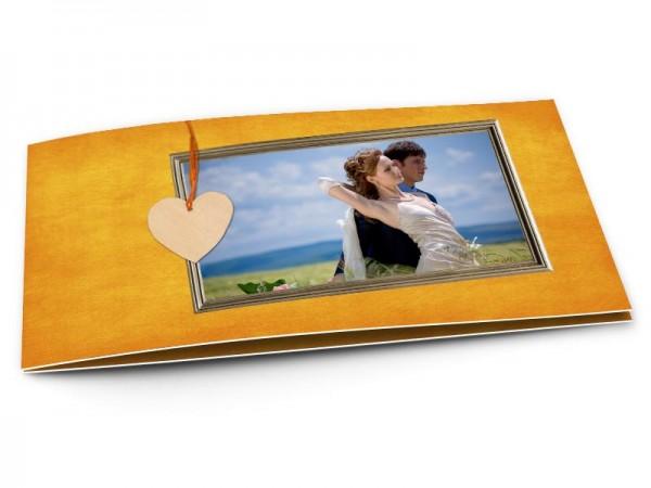 Remerciements mariage - Pendentif sur fond jaune-orangé