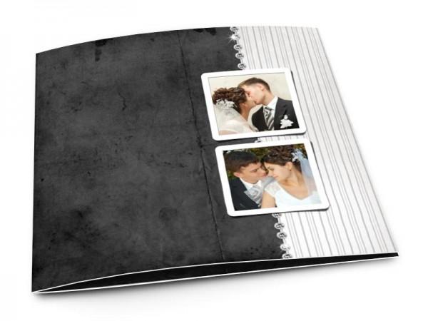 Remerciements mariage - Bicolore noir uni et gris rayé