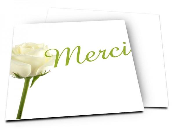 Remerciements mariage - Un bouton de rose blanche pour dire oui