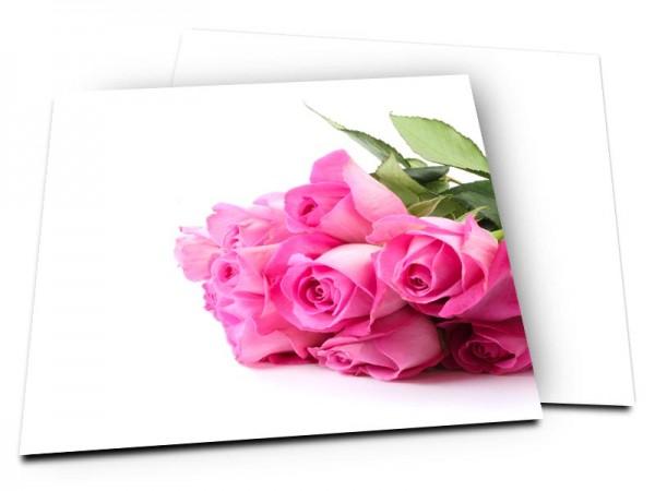 Remerciements mariage - Bouquet de roses rose