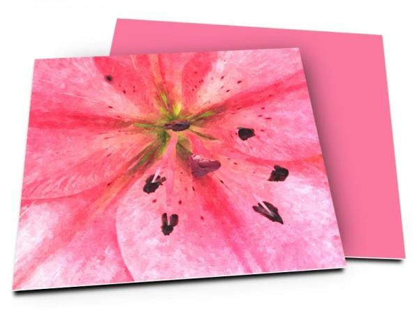 Remerciements mariage - Pistils sur fond rose