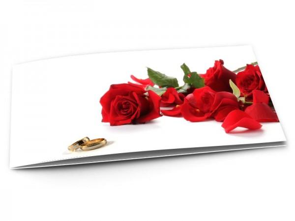 Remerciements mariage - Alliances et roses