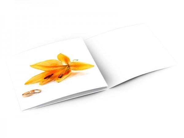 Remerciements mariage - Alliances et lys orange