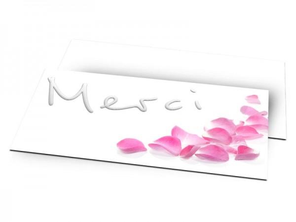Remerciements mariage - Dites Oui avec des pétales roses