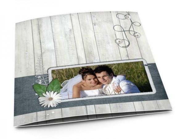 Remerciements mariage - Bois gris et marguerites