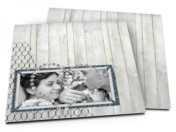 Remerciements mariage - Bois gris et coeur de diamant